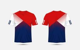 Corredi di calcio di sport del modello della banda blu, bianca e blu, jersey, modello di progettazione della maglietta illustrazione di stock