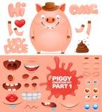 Corredo della creazione del carattere del maiale dell'emoticon del fumetto royalty illustrazione gratis