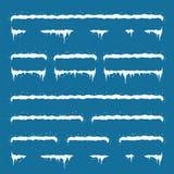 Corredo della decorazione del nuovo anno per il sito Web cappucci della neve messi sulla m. Fotografia Stock Libera da Diritti