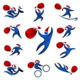 Corredo di Santa Claus con una borsa dei regali su un fondo bianco Immagine Stock Libera da Diritti