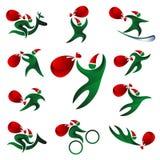 Corredo di Santa Claus con una borsa dei regali su un fondo bianco Fotografia Stock Libera da Diritti