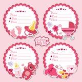 Corredo etichette sveglio con gli oggetti per la ragazza di neonato Immagine Stock Libera da Diritti