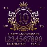 Corredo felice del segno di anniversario Numeri dorati, struttura ed alcune parole per creare gli emblemi di celebrazione illustrazione vettoriale