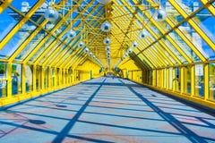 Corredor amarelo de vidro no escritório Fotos de Stock Royalty Free