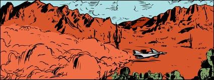 Corredor antigravedad en desierto ilustración del vector