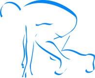 Corredor azul da silhueta Imagens de Stock Royalty Free