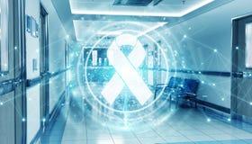 Corredor azul do hospital com a fita digital dos auxílios que flutua na rendição das conexões 3D dos pontos ilustração do vetor