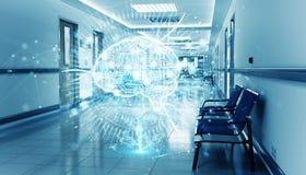 Corredor azul do hospital com o cérebro digital do raio X que flutua na rendição das conexões 3D dos pontos ilustração do vetor