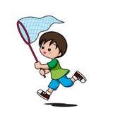 Corredor bonito dos desenhos animados do rapaz pequeno para travar os insetos isolados no whi ilustração do vetor
