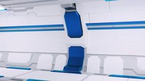 Corredor branco de uma nave espacial com decoração azul illustartions da nave espacial 3d da ficção científica ilustração royalty free