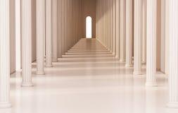 Corredor com colunas romanas e luz brilhante na saída, 3d rendido ilustração do vetor