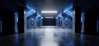 Corredor concreto escuro moderno de incandescência azul de néon do túnel da garagem de Asphalt Futuristic Spaceship Elegant Under ilustração stock