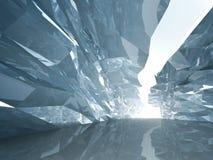 Corredor de cristal curvado com paredes ásperas ilustração do vetor