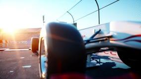 Corredor de la fórmula 1 en un coche de competición Concepto de la raza y de la motivación Puesta del sol de Wonderfull Animación stock de ilustración