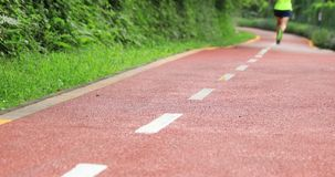 Corredor de la mujer que corre en activar del entrenamiento del camino del parque de la mañana almacen de video