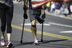 Corredor de maratona deficiente Fotografia de Stock