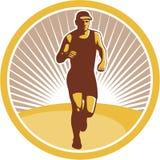 Corredor de maratona que corre Front Circle Retro ilustração stock