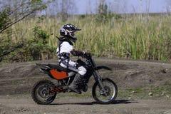Corredor del motocrós de Yound Foto de archivo