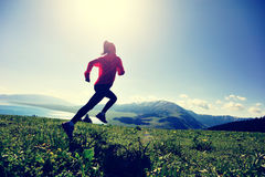 corredor del rastro de la mujer que corre en pico de montaña hermoso fotografía de archivo libre de regalías