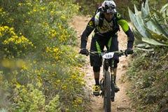 Corredor desconocido en la competencia de la bici de montaña Fotos de archivo