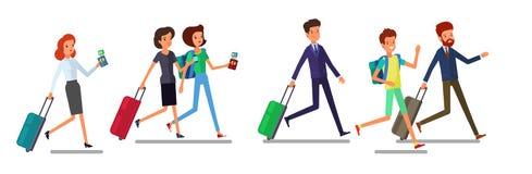 Corredor do homem e da mulher do turista Os povos de viagem no desgaste da viagem com bagagem apressam-se, tarde para o plano ou  ilustração royalty free