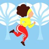 Corredor do inverno Uma imagem do vetor de uma mulher que corre em uma aptidão e em uns cuidados médicos da floresta do inverno foto de stock royalty free