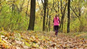 Corredor do movimento lento - corredor da mulher que movimenta-se no trajeto de floresta do outono Treinamento running da fuga fê vídeos de arquivo