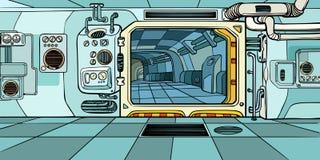 Corredor do navio de espaço Ficção científica ilustração royalty free