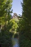Corredor do rio ao desfiladeiro entre árvores de álamo, Granada de Alhama fotos de stock royalty free
