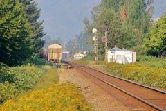 Corredor do trem da cidade e visibilidade pobre fotos de stock