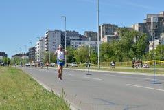 Corredor durante maratón Fotos de archivo libres de regalías