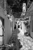 Corredor em Paroikia, Paros Fotografia de Stock