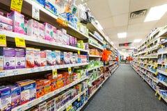 Corredor em uma farmácia de CVS Fotos de Stock