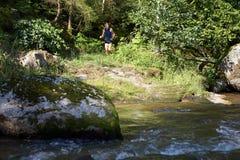 Corredor em uma trilha da floresta Imagens de Stock Royalty Free