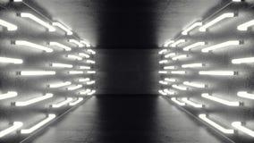Corredor escuro futurista de Abstrac com luzes de néon Luz de incandescência Fundo futurista da arquitetura, animação 3D filme