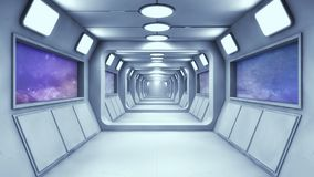 Corredor futurista do interior da nave espacial Imagem de Stock Royalty Free