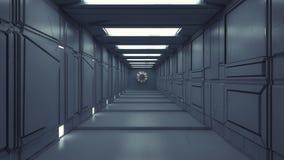 Corredor futurista do interior da nave espacial Fotografia de Stock