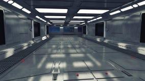 Corredor futurista do interior da nave espacial Fotografia de Stock Royalty Free