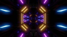 Corredor futurista do túnel do scifi com laço do vj dar laços infinito da ilustração do papel de parede 3d do fundo do agrupament ilustração stock