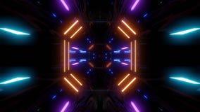 Corredor futurista do túnel do scifi com laço do vj dar laços infinito da ilustração do papel de parede 3d do fundo do agrupament video estoque
