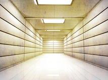 Corredor iluminado do corredor com paredes lustrosas e o assoalho textured Fotografia de Stock Royalty Free