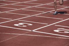 Corredor masculino que concluye una raza en una pista corriente Fotos de archivo libres de regalías