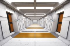 Corredor moderno e futurista da nave espacial Fotografia de Stock