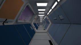 Corredor moderno e futurista da nave espacial Imagens de Stock