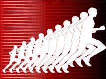 Corredor na silhueta no fundo vermelho Imagem de Stock