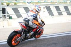Corredor Nicky Hayden en Valencia Foto de archivo