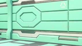 corredor realístico da nave espacial da ficção científica do illustrationof 3D ilustração royalty free