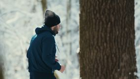 Corredor solitário na madeira do inverno video estoque