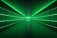 Corredor vazio futurista com luzes de néon verdes ilustração stock