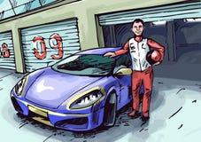 Corredor y su coche ilustración del vector